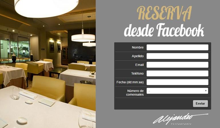 Reservas en Facebook Restaurante Alejandro Almería